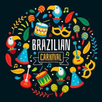Kleurrijke braziliaanse carnaval-gebeurtenisillustratie met feestelijke elementen