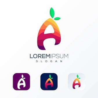 Kleurrijke brief fruit logo sjabloon