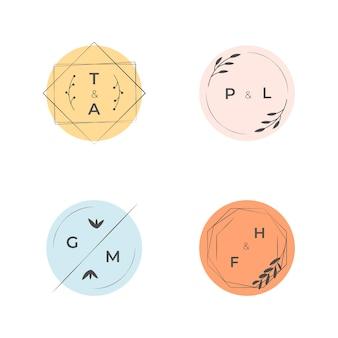 Kleurrijke bruiloft collectie logo's