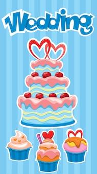 Kleurrijke bruiloft desserts banner met smakelijke cake en cupcakes stickers op blauw gestreept