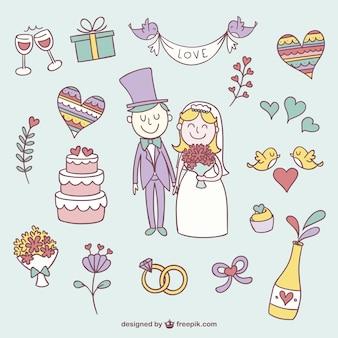 Kleurrijke bruiloft krabbels