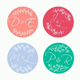 Kleurrijke bruiloft monogram collectie concept