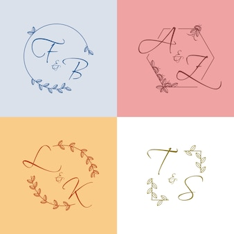 Kleurrijke bruiloft monogram collectie stijl
