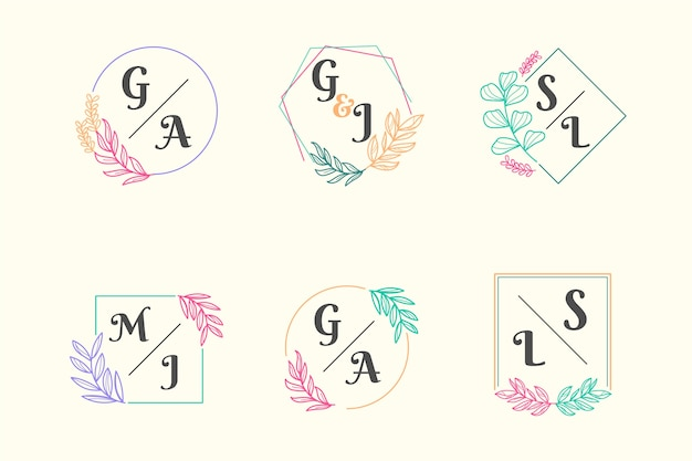 Kleurrijke bruiloft monogram collectie