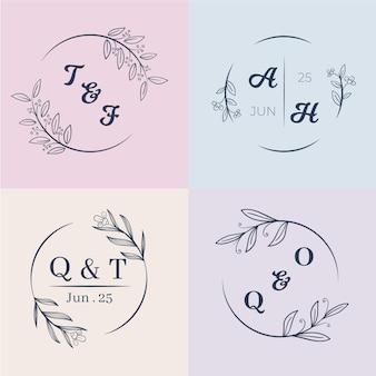 Kleurrijke bruiloft monogrammen instellen