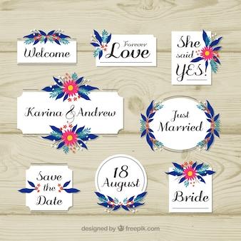 Kleurrijke bruiloft ornamenten in platte ontwerp