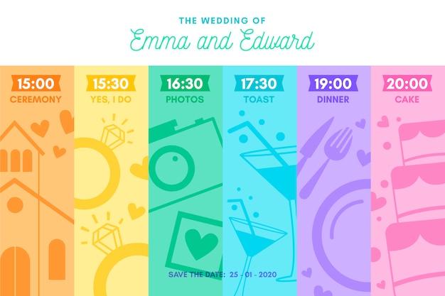 Kleurrijke bruiloft tijdlijn in lineaire stijl