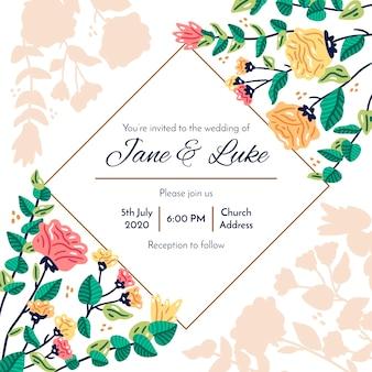 Kleurrijke bruiloft uitnodiging met bloemen
