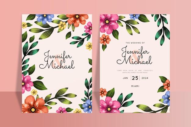 Kleurrijke bruiloft uitnodigingen sjabloon