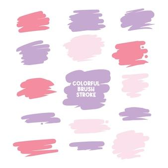 Kleurrijke brush stroke set