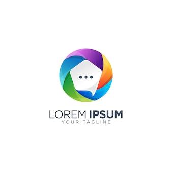 Kleurrijke bubble chat logo sjabloon