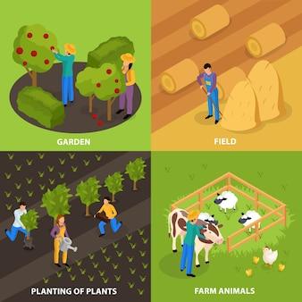 Kleurrijke buitencomposities van huishoudelijke en boerderijactiviteiten
