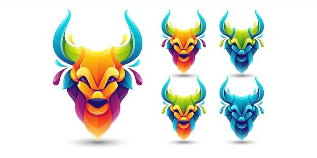 Kleurrijke bull pack logo sjabloon