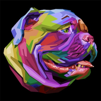 Kleurrijke bulldog op pop-art stijl.