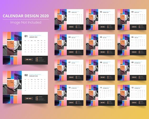 Kleurrijke bureaukalender 2020