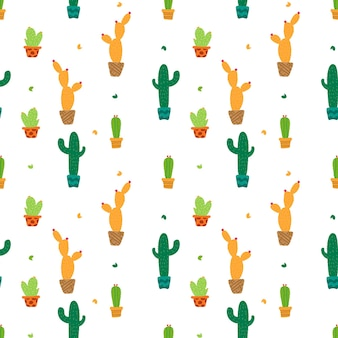 Kleurrijke cactus op naadloze patroonachtergrond. vector illustratie.