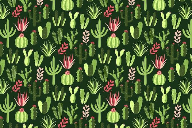 Kleurrijke cactus patroon achtergrond