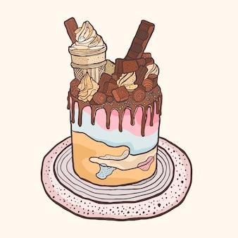 Kleurrijke cake illustratie met hand getrokken stijl