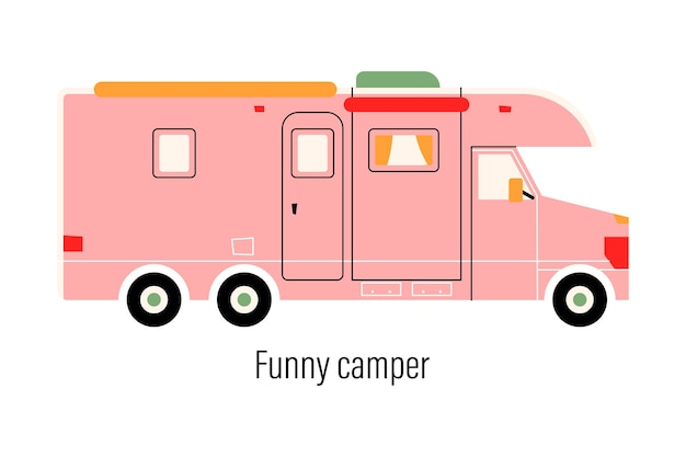 Kleurrijke camper. entertainment auto. stacaravan voor recreatie buiten de stad en buitenrecreatie.