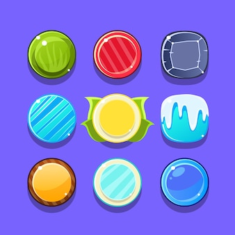 Kleurrijke candy flash game element sjablonen ontwerpset met ronde snoepjes voor drie op een rij type video