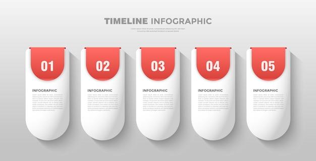 Kleurrijke capsule tijdlijn infographic sjabloon
