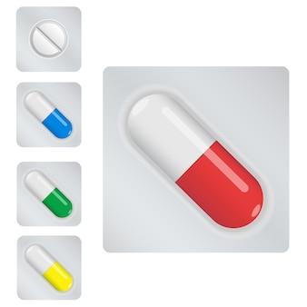 Kleurrijke capsules instellen. witte pil.