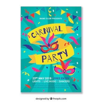 Kleurrijke carnaval partij poster