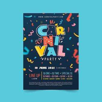 Kleurrijke carnaval poster hand getekend met linten