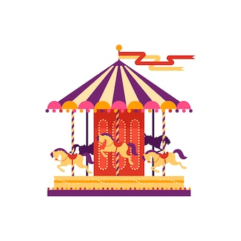 Kleurrijke carrousel met paarden, pretparkelement in vlakke stijl geïsoleerd op een witte achtergrond. kinderanimatie, draaimolen, kermis carnaval illustratie