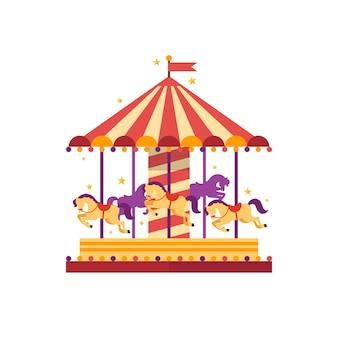 Kleurrijke carrousel met paarden.