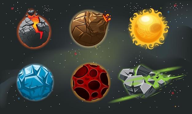 Kleurrijke cartoon fantasie planeten ingesteld op ruimte achtergrond