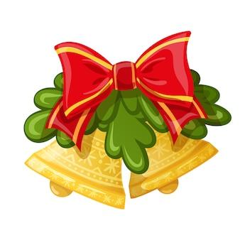 Kleurrijke cartoon illustratie van kerstklokken op witte achtergrond