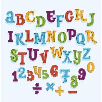 Kleurrijke cartoon latijnse lettertype. geïsoleerde letters en cijfers