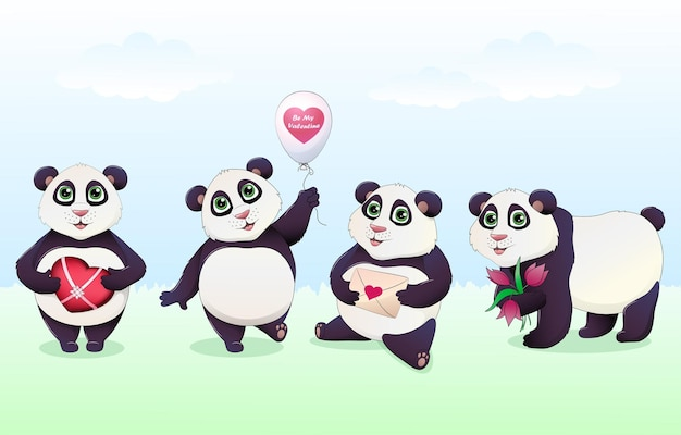 Kleurrijke cartoon panda met verschillende liefdesgeschenken