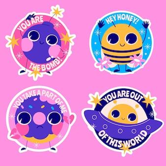 Kleurrijke cartoon stickers collectie