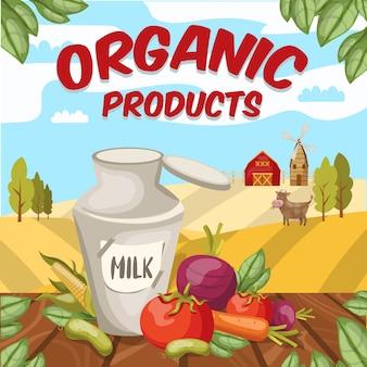 Kleurrijke cartoon stijl boerderij met biologische wortel maïs bieten plantaardige producten en land scène