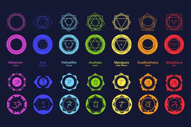 Kleurrijke chakra's collectie