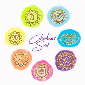 Kleurrijke chakra's illustraties pack