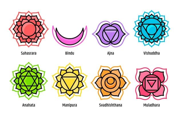 Kleurrijke chakra's instellen hand getrokken stijl