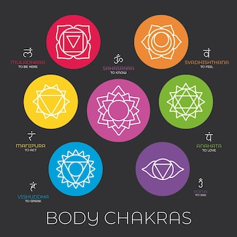 Kleurrijke chakra's pack