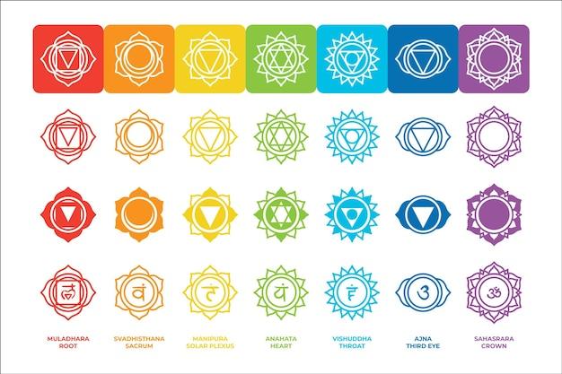 Kleurrijke chakra's set