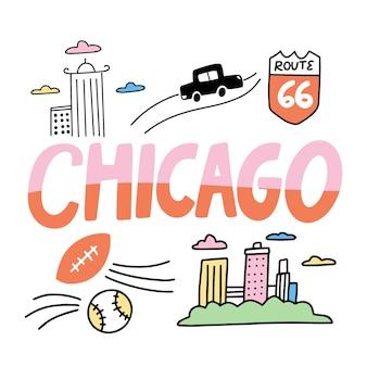Kleurrijke chicago stad belettering