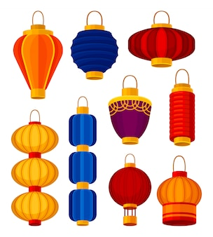 Kleurrijke chinese lantaarns. element en aziatische tradities.