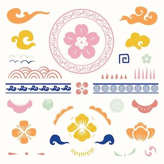 Kleurrijke chinese traditionele bloemen type set