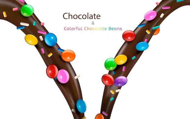 Kleurrijke chocoladebonen illustratie