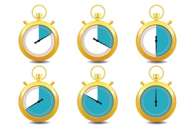 Kleurrijke chronometers gouden pictogrammenset