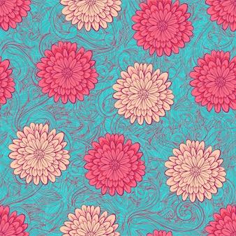 Kleurrijke chrysanten in plat design