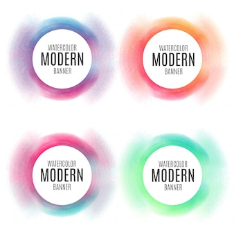 Kleurrijke circulaire banner collectie