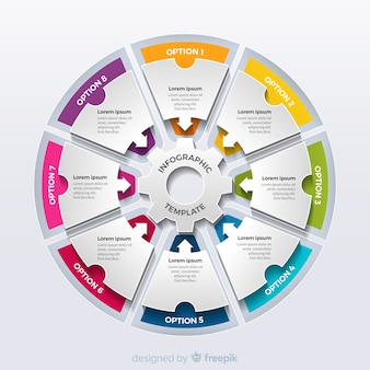 Kleurrijke circulaire infographic stappen