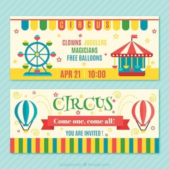 Kleurrijke circus tickets pak
